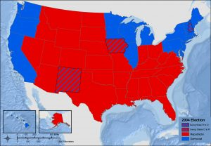 Map of the United States 2004 Presidential Election - Swing States. Most states are red for Republican. Blue states are along the West Coast, northeastern and upper Midwest. Iowa and New Mexico switched to Republican. New Hampshire switched to Democrat.