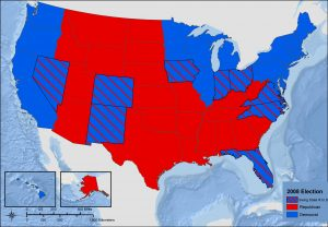 Map of the United States 2008 Presidential Election - Swing States. Most states are red for Republican. Blue states are along the West Coast, northeastern and upper Midwest. Additionally, numerous states switched to Democrat, bringing Barack Obama to victory.
