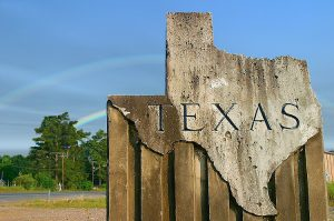 Photograph of wooden Texas sign.