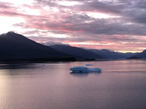A sunrise photo at Tracy Arm Fjord in Alaska.