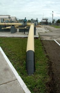 Photo of short segment of an ammonia pipeline that extends from Russia to Ukraine.