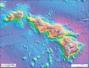 Color coded bathymetric map of Hawaii.