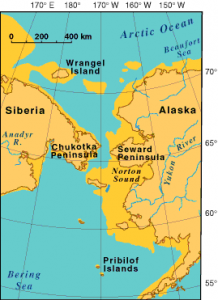 Political map showing land on both sides of the Bering Strait.