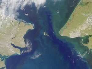 Satellite view of the Bering Strait