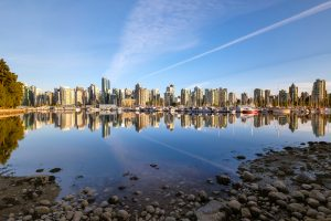 Photograph of skyline of Vancouver, British Columbia, Canada.