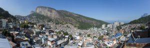 Panoramic photograph of the Rocinha favela in Rio de Janeiro, Brazil.