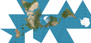 World map in the Dymaxion projection that sharply cuts and disconnects the oceans to create a discordant grouping a land-focused triangles.