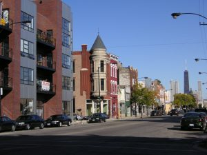 Gentrified street in Chicago.