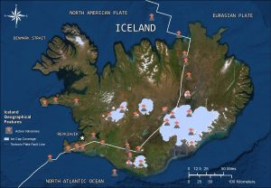 Map showing glaciers and volcanoes in Iceland.