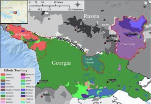 Map showing the territories of ethnic groups in Georgia and neighboring Russia in the Caucasus region.