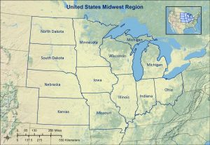 Topographic map of the Midwest region of the United States.