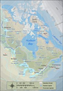 Map of Canada's landscape, featuring the Canadian Shield.