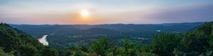 Panoramic photograph of the Ozark Mountains and White River.