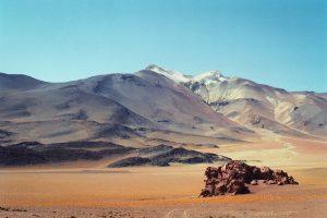 Photograph of rugged land in Atacama Desert, Chile.