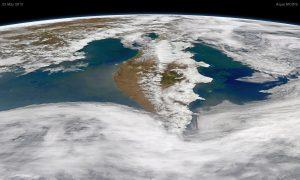 Satellite view of Kamchatka Peninsula