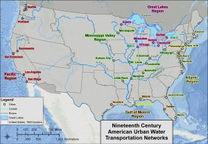 Map of the United States, featuring 19th century urban water transportation networks.
