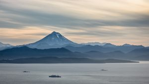Photo of volcano on the Kamchatka Peninsula adjacent to Avachinsky Bay.