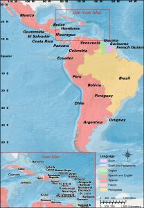 Political map of Latin America and the Caribbean.