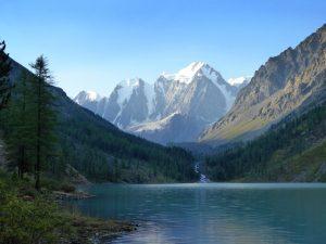 Photograph of alpine lake - Lower Shavla Lake, Siberia, Russia.