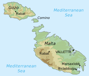 Topographic map of Malta and Gozo islands.