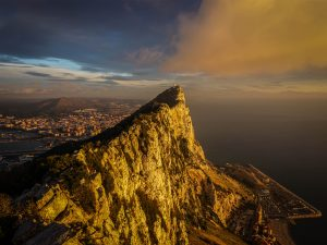 Aerial photograph of sunrise at the rock of Gibraltar.