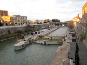 Photograph of a lock of the Erie Canal at Lockport, New York.
