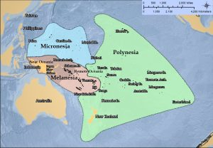 Map showing the areas of the Pacific Realm - Australia, Melanesia, Micronesia, and Polynesia.