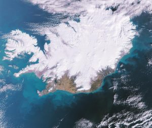 Aerial image of winter snow cover in Iceland.