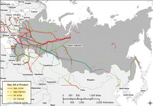 Map of Russia and surrounding countries, showing oil and gas pipelines mainly from western Siberia to Europe.