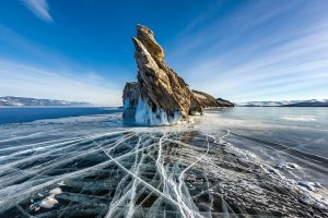 Photograph of cracked ice in Lake Baikal in Siberia, Russia.