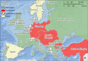 Map showing Europe's alliances in World War I.