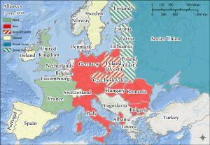 Map showing Europe's alliances in World War II.