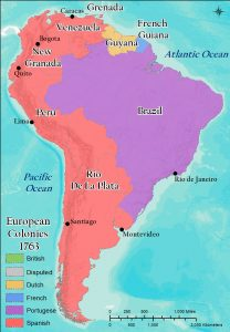 Map of European Colonies in South America.