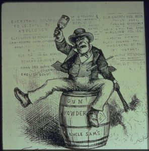 Cartoon by Thomas Nast, showing unruly American.