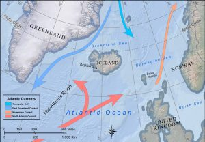 Map showing ocean currents around Iceland.