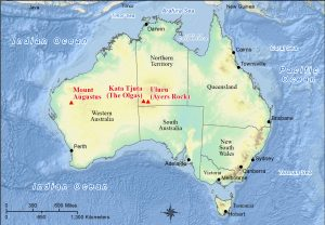 Map showing location of prominent monoliths in Australia.