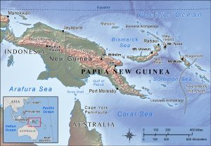 Topographic map of Papua New Guinea.