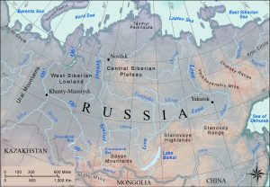 Map of rivers in Siberia.
