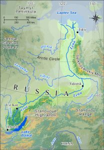 Map of the Lena River basin in eastern Siberia.