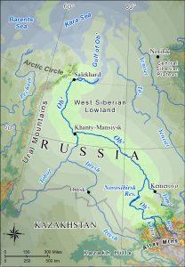 Map of the Ob' River basin in western Siberia.