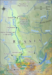 Map of the Yenesei River basin in central Siberia.