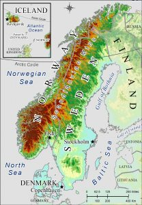 Topographic map of Scandinavia.