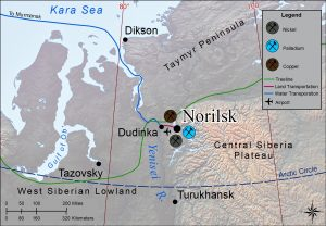 Map of area near Norilsk in north-central Siberia. The map highlights large resources deposits there.