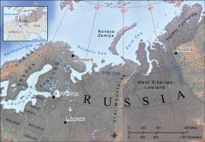 Landscape map of northwestern Russia.