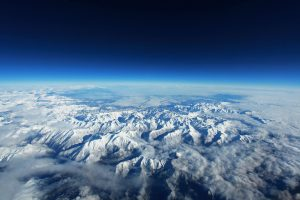 Aerial photograph of the snow-capped Pyrenees Mountains.