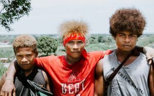 Trio of native boys in the Solomon Islands.