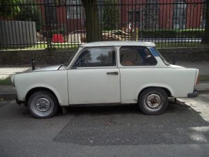Photography of the Trabant automobile from East Germany. One of the worst cars ever produced.
