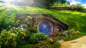 Photograph of the still maintained Hobbiton from the New Zealand set of the Hobbit and Lord of the Rings movies.
