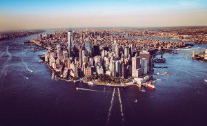 Aerial photograph of Manhattan, New York, and surrounding water.