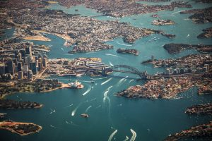 Aerial photography of Sydney, Australia, and its harbor.